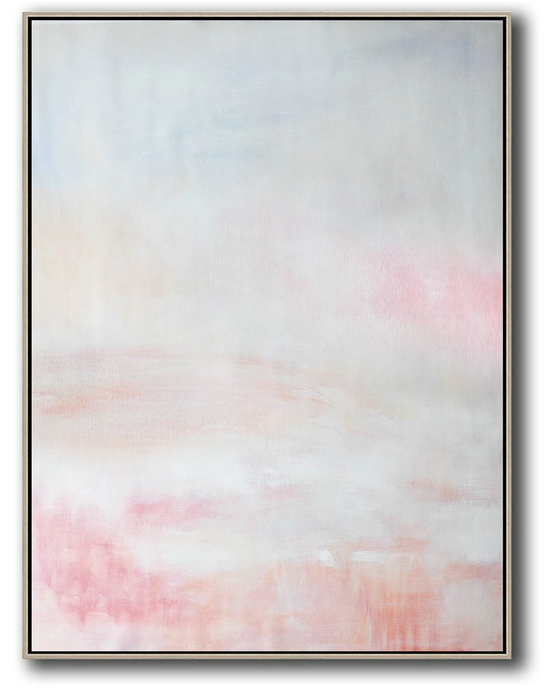 Vertical Vertical Abstract Art On Canvas,Acrylic Painting Large Wall Art,Grey,Pink,White