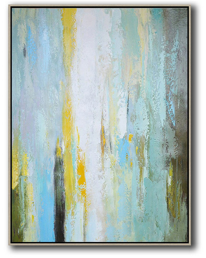 Vertical Palette Knife Contemporary Art,Modern Wall Art,Blue,White,Yellow,