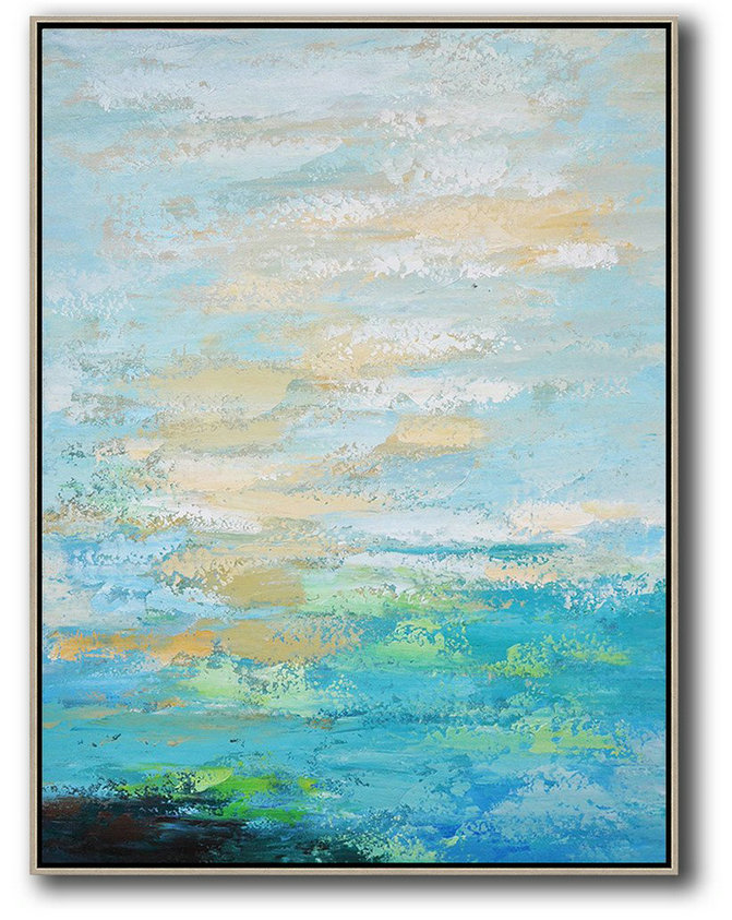 Vertical Palette Knife Contemporary Art,Large Canvas Art,Blue,Yellow,White