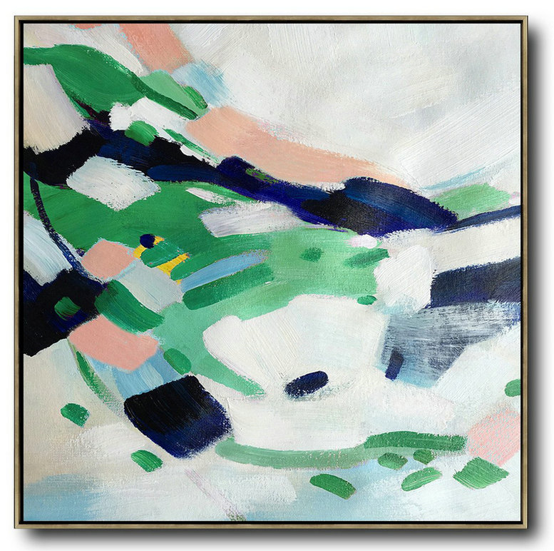 Oversized Contemporary Art,Abstract Painting On Canvas,White,Green,Pink