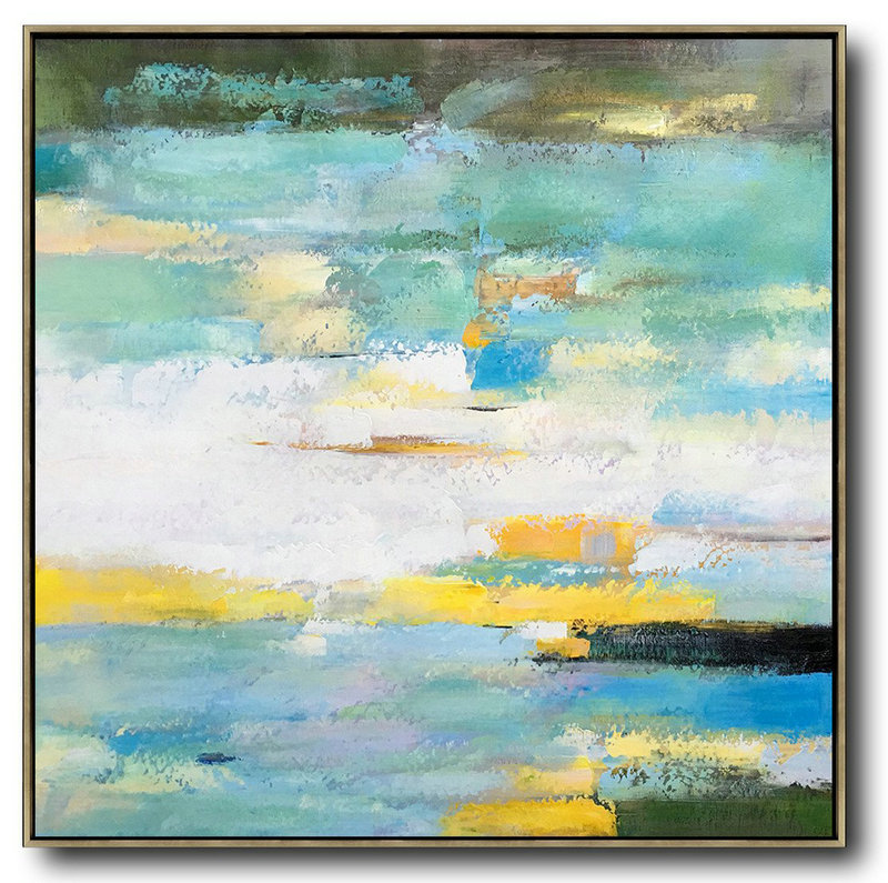 Oversized Contemporary Art,Modern Art Abstract Painting,White,Green,Yellow