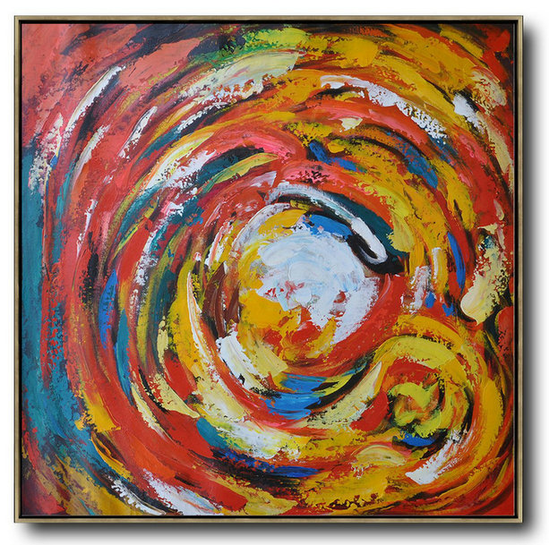 Oversized Contemporary Art,Extra Large Canvas Painting,Red,White,Yellow,Blue