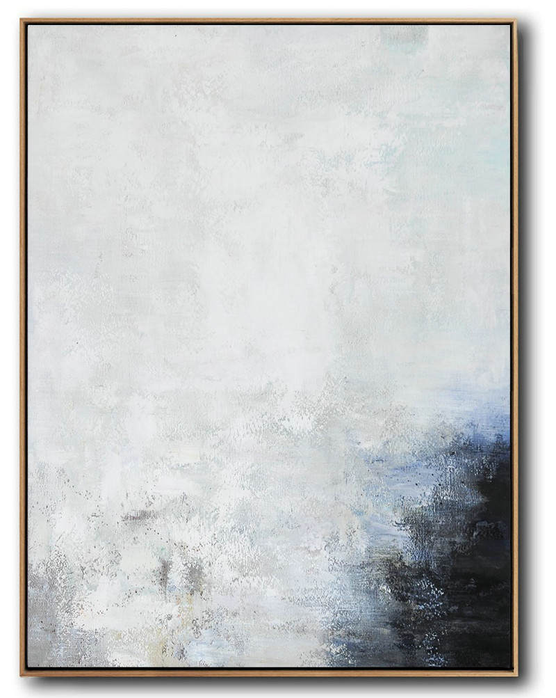 Vertical Vertical Abstract Art On Canvas,Modern Abstract Wall Art,Grey,White,Black,Blue