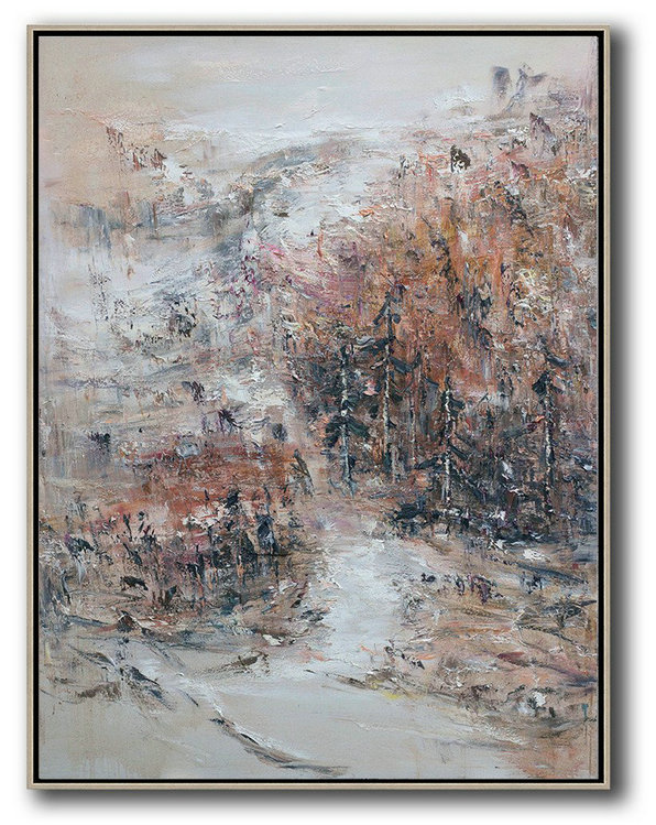 Original Abstract Landscape Oil Painting On Canvas,Large Canvas Wall Art For Sale,Grey,White,Pink,Brown