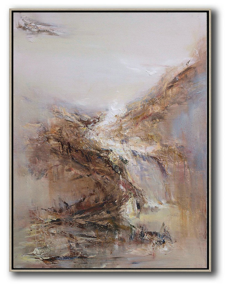 Abstract Landscape Oil Painting,Modern Paintings On Canvas,Grey,White,Brown,Yellow