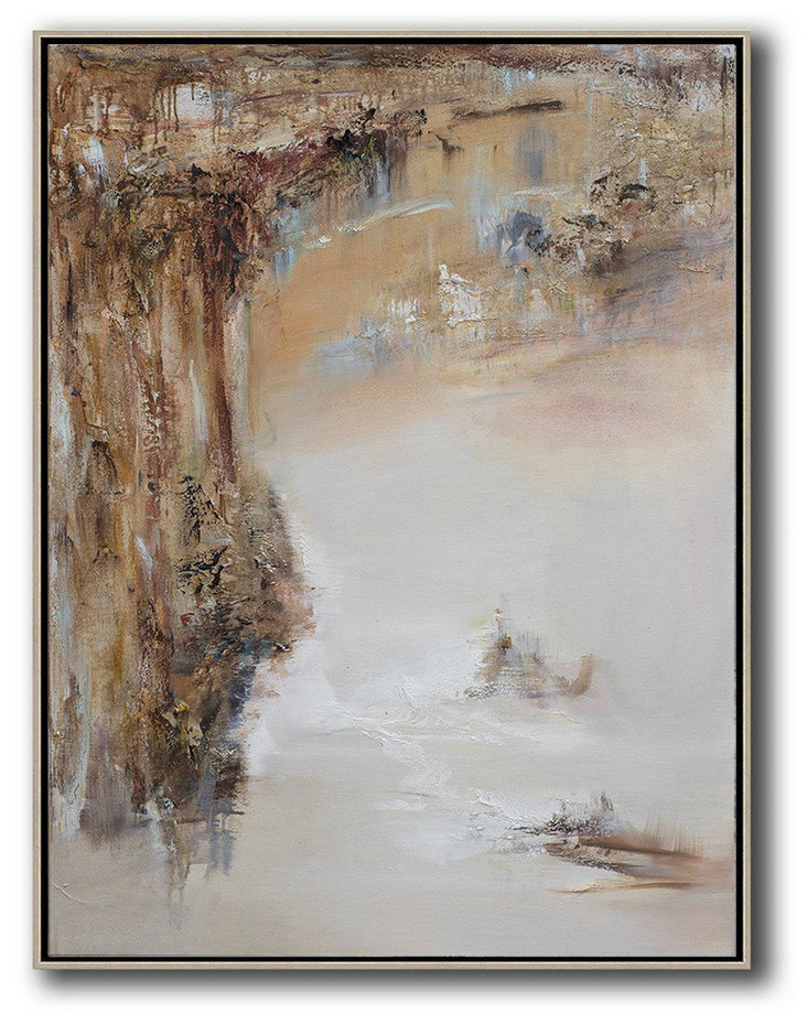 Abstract Landscape Oil Painting,Extra Large Artwork,Brown,White,Grey