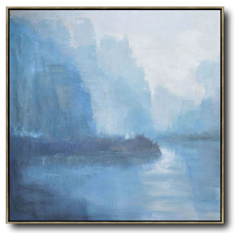 Oversized Abstract Landscape Oil Painting,Large Canvas Art,White,Blue,Grey
