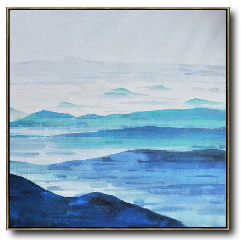 Oversized Abstract Landscape Oil Painting,Canvas Paintings For Sale,Blue,Gray,White
