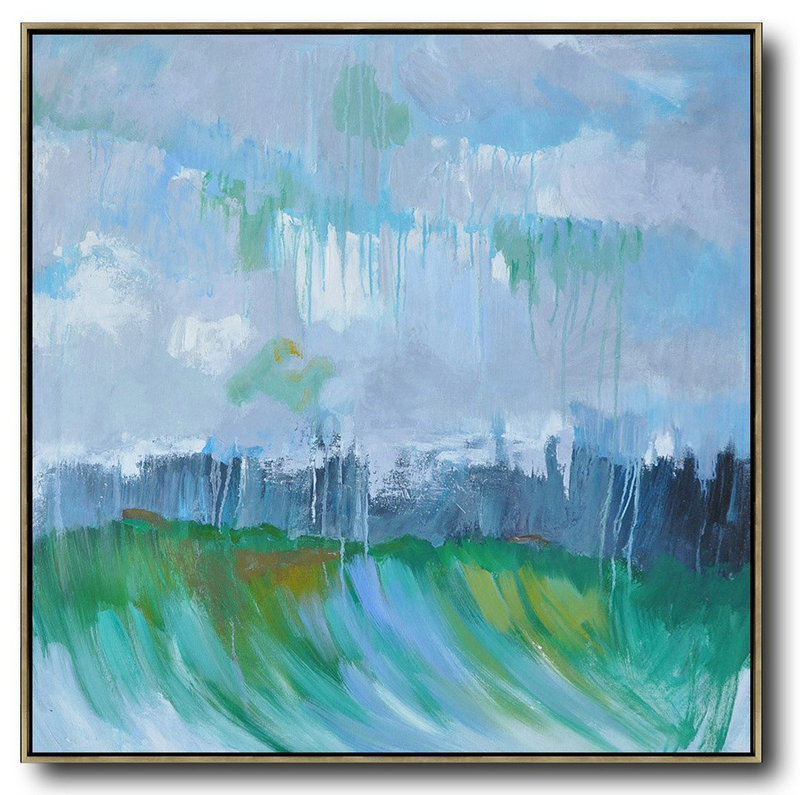 Oversized Abstract Landscape Oil Painting,Large Living Room Wall Decor,Gray,Green,Dark Blue
