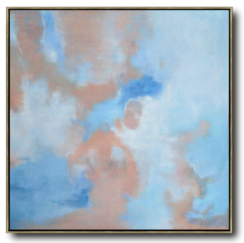 Oversized Abstract Landscape Oil Painting,Colorful Wall Art,Blue,Pink,White