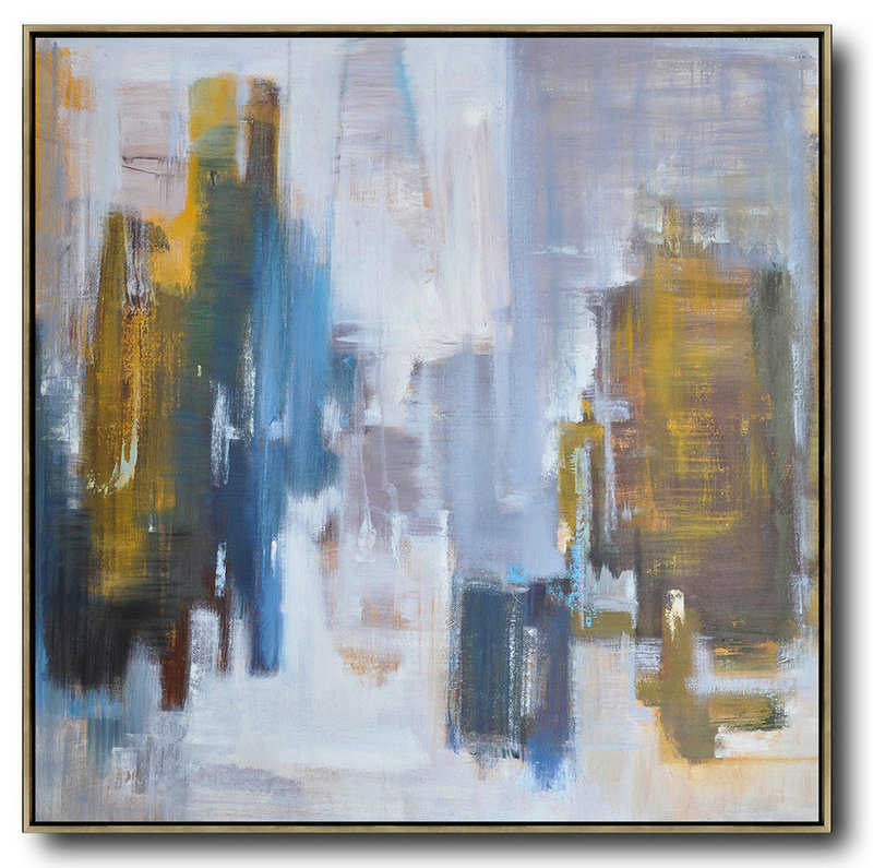 Oversized Abstract Landscape Oil Painting,Acrylic Painting On Canvas,Yellow,White,Blue
