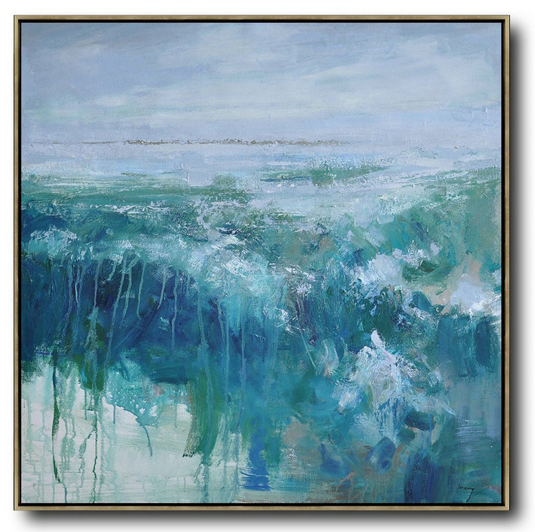 Oversized Abstract Landscape Oil Painting,Wall Art Ideas For Living Room,Blue,Green,Gray