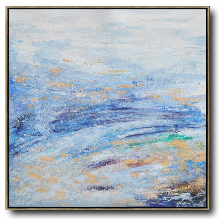Oversized Abstract Landscape Oil Painting,Large Wall Art Home Decor,Blue,White,Blue