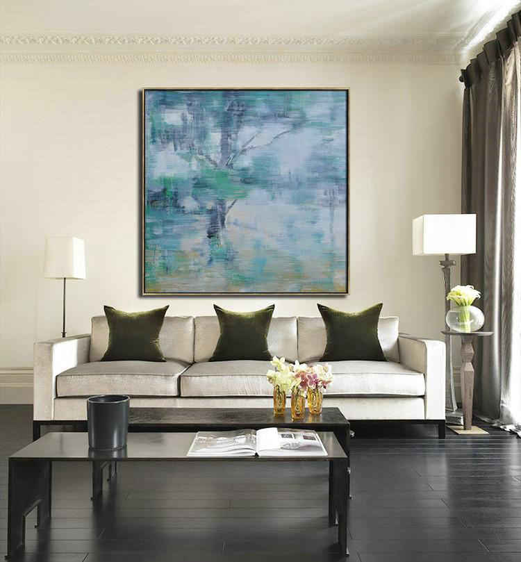 Oversized Abstract Landscape Oil Painting,Size Extra Large Abstract Art,Gray,Green,White