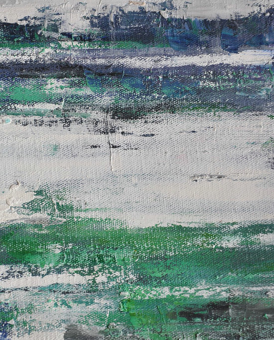 Large Abstract Landscape Oil Painting On Canvas,Big Art Canvas,Green,White,Blue