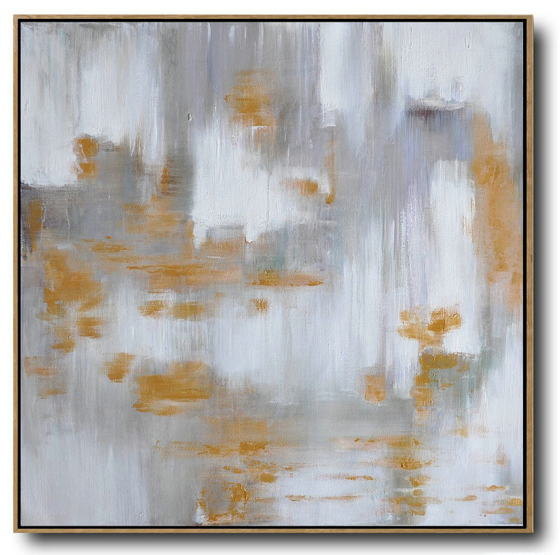 Large Abstract Landscape Oil Painting On Canvas,Custom Canvas Wall Art,Glod,White,Grey