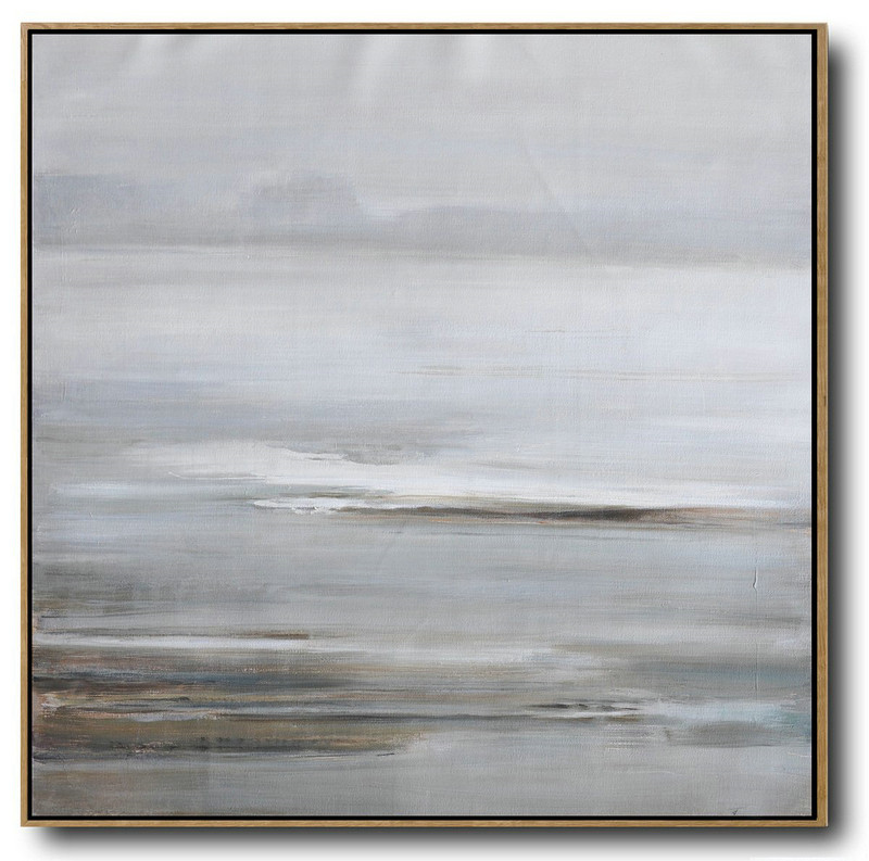 Large Abstract Landscape Oil Painting On Canvas,Large Paintings For Living Room,Gray,White,Yellow