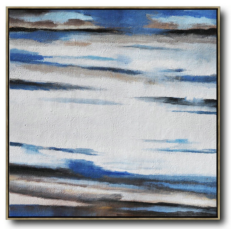Oversized Abstract Landscape Painting,Contemporary Art Wall Decor,White,Blue,Brown
