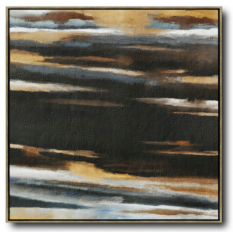 Oversized Abstract Landscape Painting,Huge Abstract Canvas Art,Yellow,Black,White