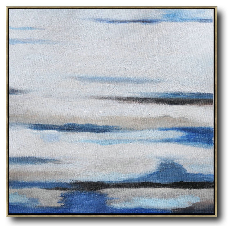 Oversized Abstract Landscape Painting,Hand Painted Original Art,White,Gray,Blue