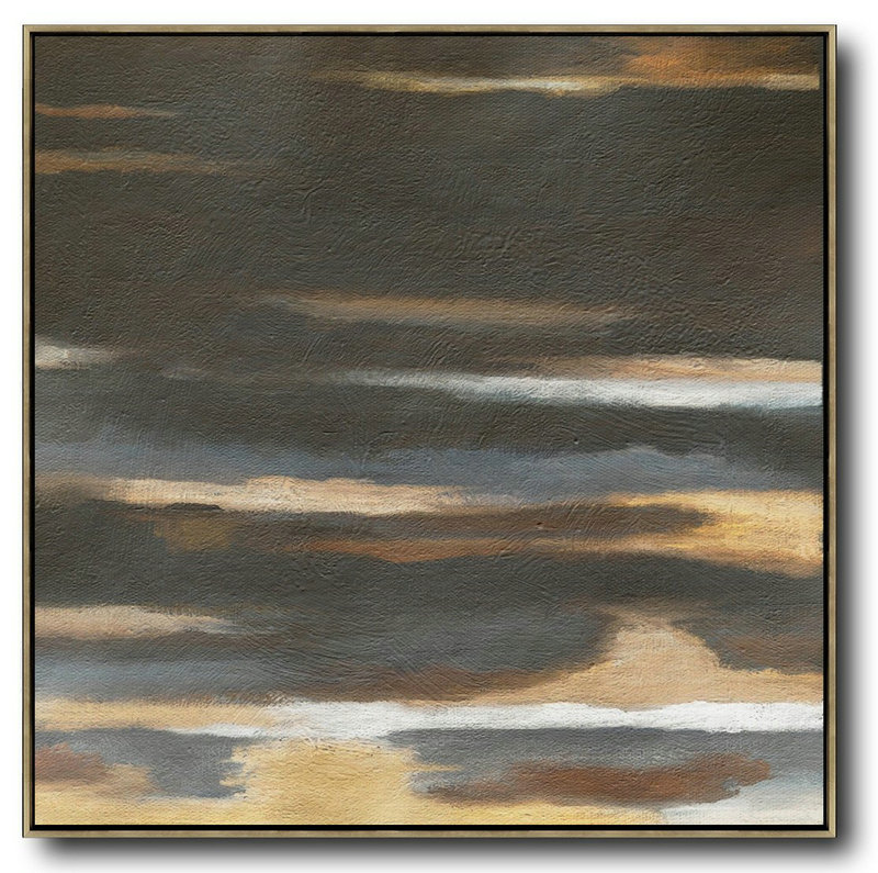 Oversized Abstract Landscape Painting,Canvas Wall Art Home Decor,Black,Brown,Yellow