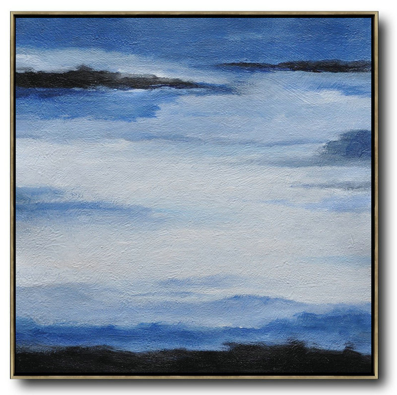 Oversized Abstract Landscape Painting,Hand Paint Large Clean Modern Art,Black,Blue,White
