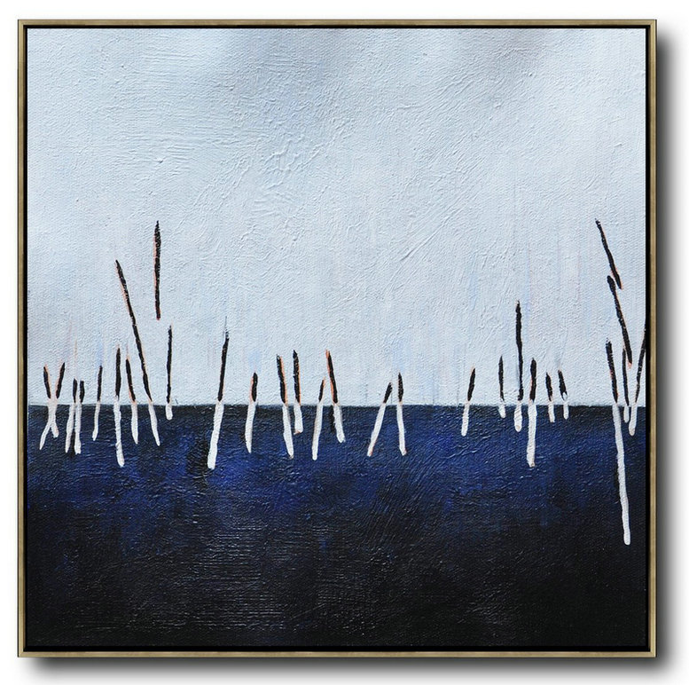 Oversized Abstract Landscape Painting,Xl Large Canvas Art,White,Dark Blue,Black