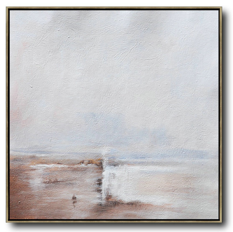 Oversized Abstract Landscape Painting,Modern Canvas Art,White,Brown,White