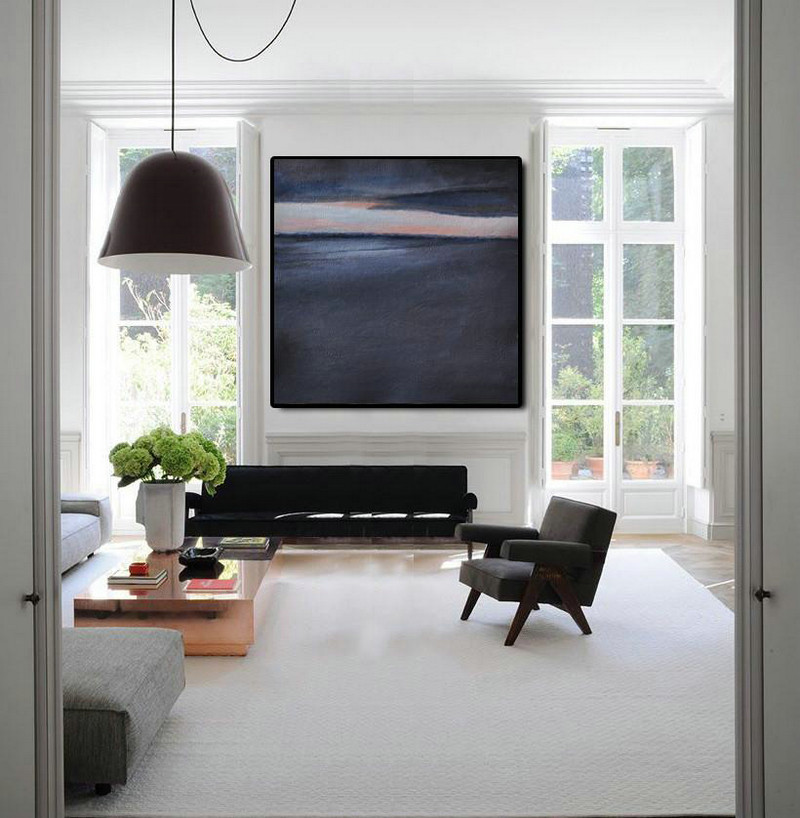 Oversized Abstract Landscape Painting,Acrylic Painting Canvas Art,Black,Dark Blue,Gray
