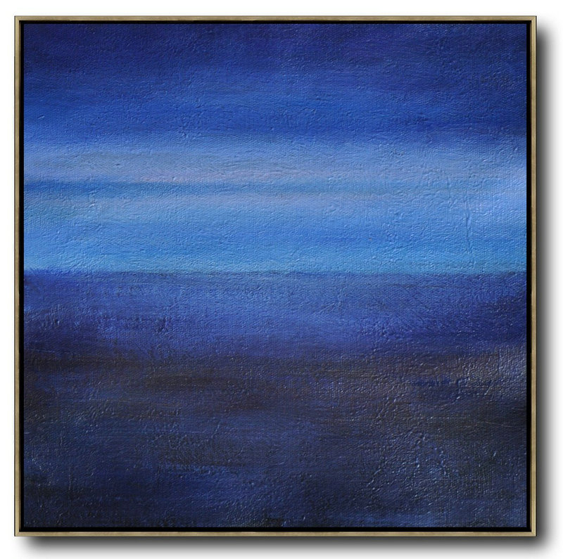 Oversized Abstract Landscape Painting,Hand Painted Acrylic Painting,Dark Blue,Sky Blue,Black