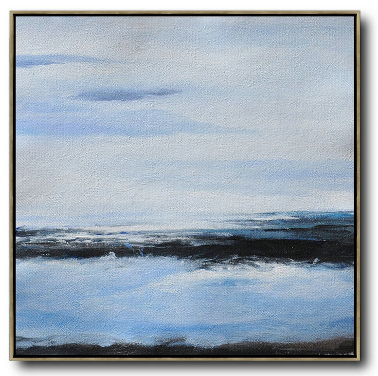 Oversized Abstract Landscape Painting,Hand-Painted Contemporary Art,White,Blue,Black