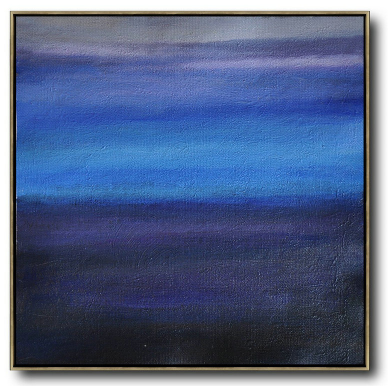 Oversized Abstract Landscape Painting,Canvas Artwork For Sale,Gray,Blue,Black
