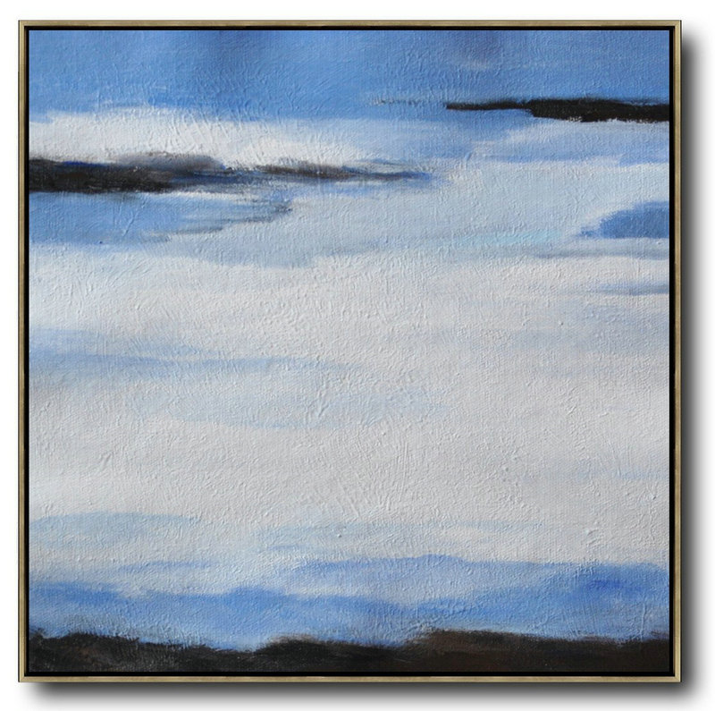 Oversized Abstract Landscape Painting,Large Living Room Decor,White,Blue,Black - Click Image to Close