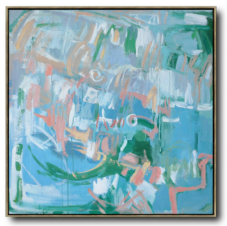 Oversized Contemporary Oil Painting,Original Abstract Painting Canvas Art,Blue,Green,White,Pink
