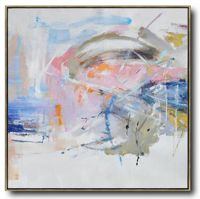 Oversized Abstract Oil Painting,Oversized Custom Canvas Art,White,Pink,Blue,Gray