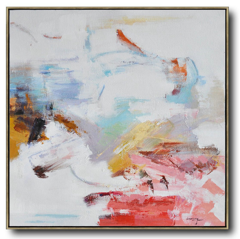 Oversized Contemporary Oil Painting,Contemporary Art Canvas Painting,White,Red,Blue,Yellow