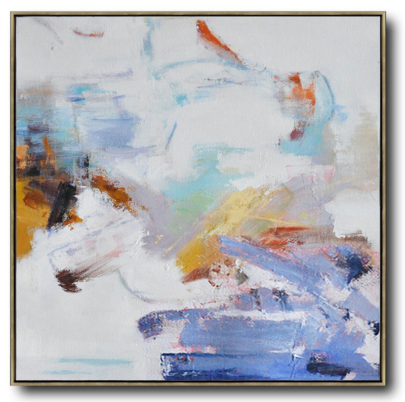 Oversized Abstract Oil Painting,Large Oil Canvas Art,White,Blue,Gray,Yellow