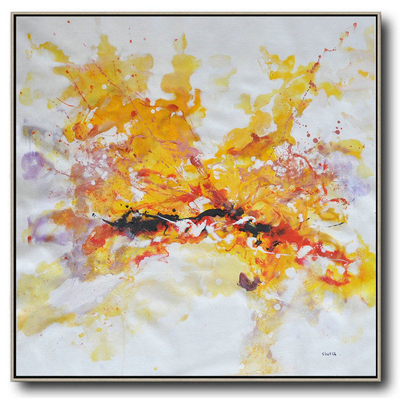 Oversized Abstract Oil Painting,Large Canvas Wall Art For Sale,Yellow,White,Purple,Red