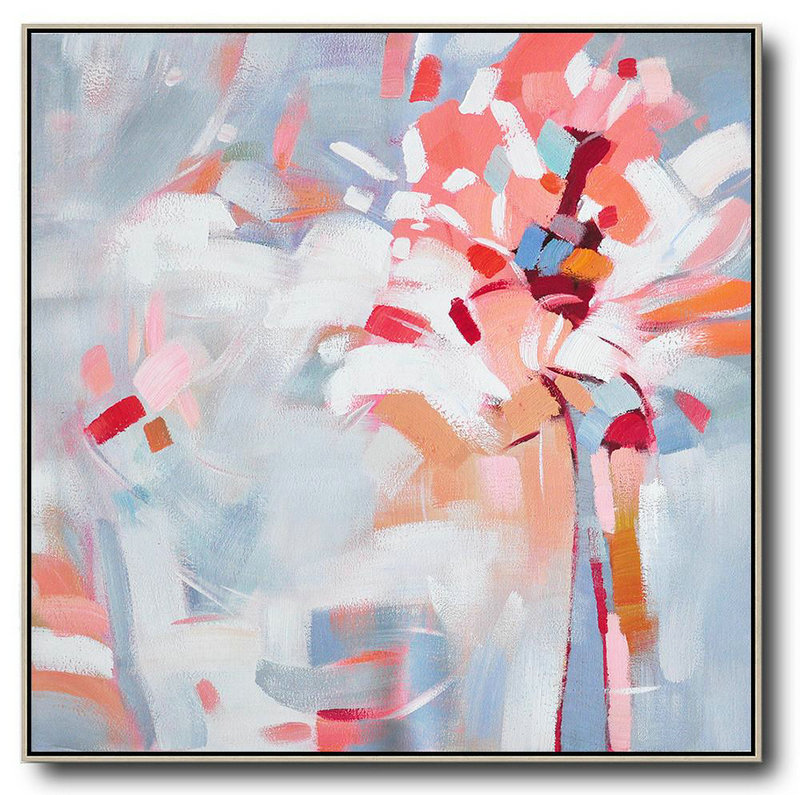 Oversized Abstract Flower Painting,Large Contemporary Art Canvas Painting,Pink,White,Gray