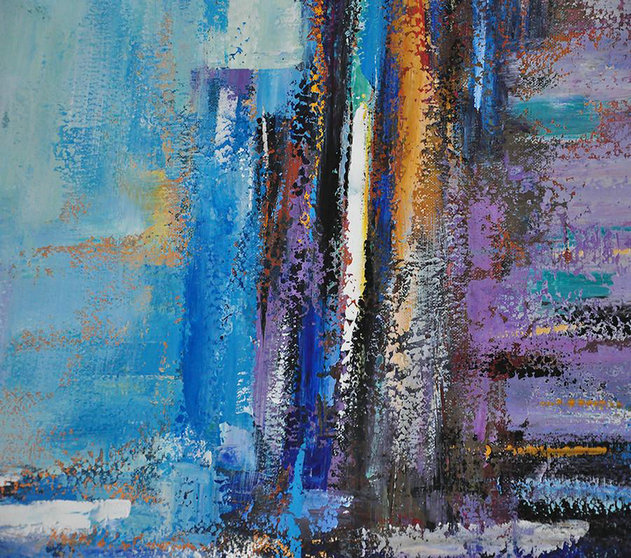 Oversized Abstract Landscape Painting,Hand Paint Abstract Painting,Purple,Blue,Yellow
