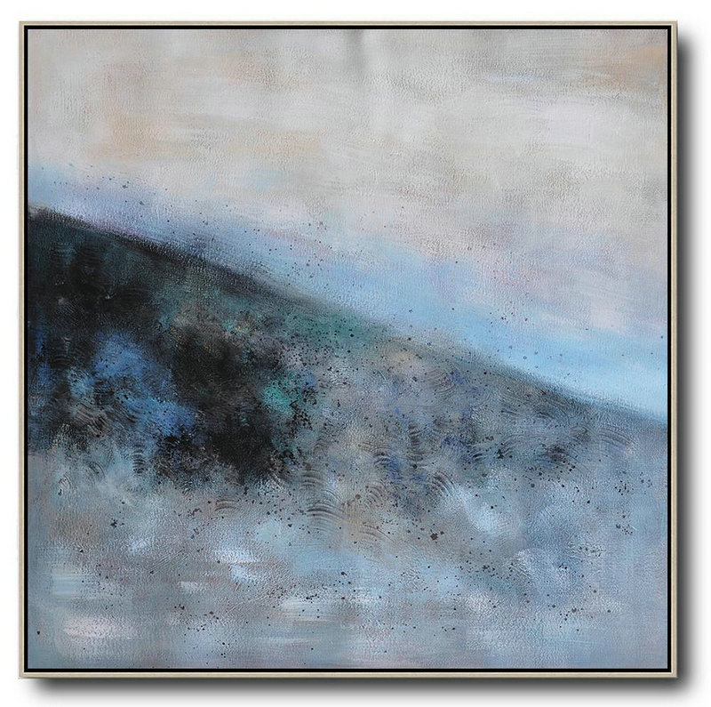 Oversized Abstract Landscape Painting,Modern Art Abstract Painting,Gray,Blue,Black