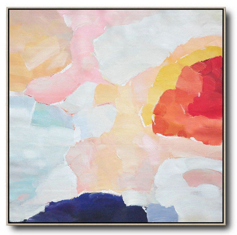 Oversized Abstract Art,Modern Abstract Wall Art,Red,White,Pink,Blue