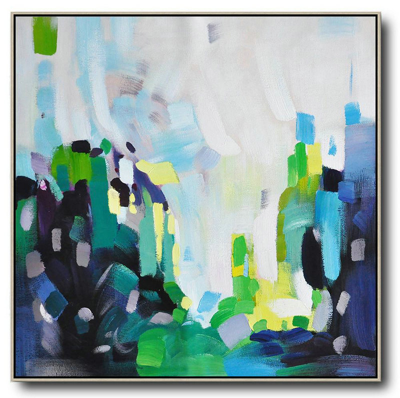 Oversized Abstract Art,Handmade Acrylic Painting,White,Green,Black,Yellow