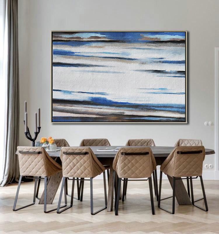 Horizontal Palette Knife Contemporary Art,Wall Art Painting,White,Blue,Brown