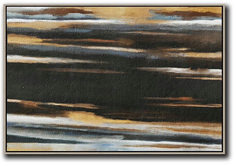 Horizontal Palette Knife Contemporary Art,Colorful Wall Art,Black,Brown,White,Yellow