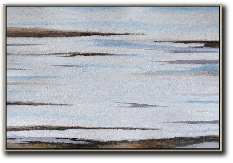 Horizontal Palette Knife Contemporary Art,Large Living Room Decor,Brown,White,Blue