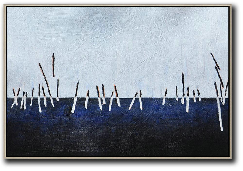 Horizontal Palette Knife Contemporary Art,Huge Abstract Canvas Art,White ,Dark Blue,Grey,Black