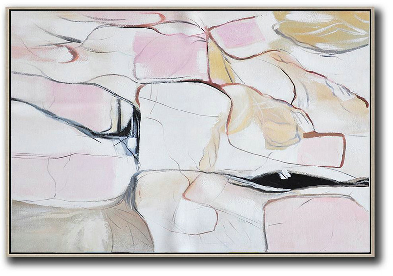 Oversized Horizontal Contemporary Art,Original Art,White,Pink,Yellow,Grey