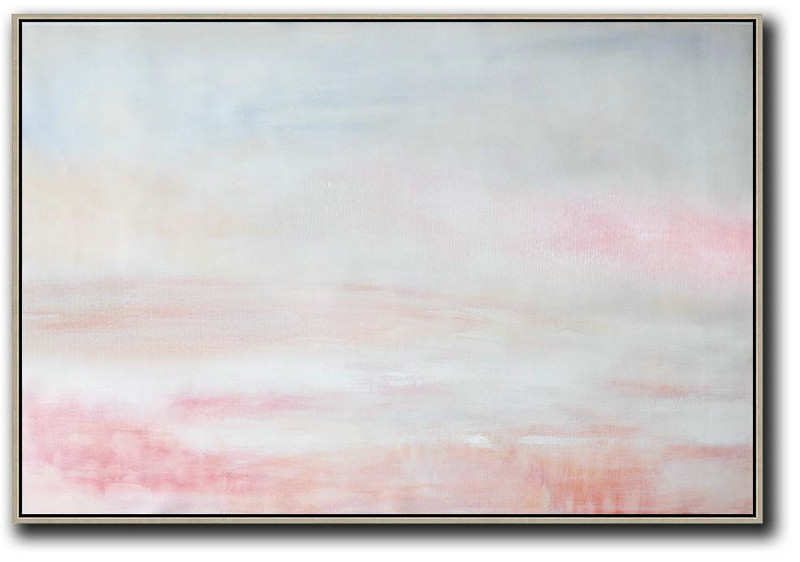 Oversized Horizontal Abstract Art,Large Canvas Wall Art For Sale,Grey,Pink,White