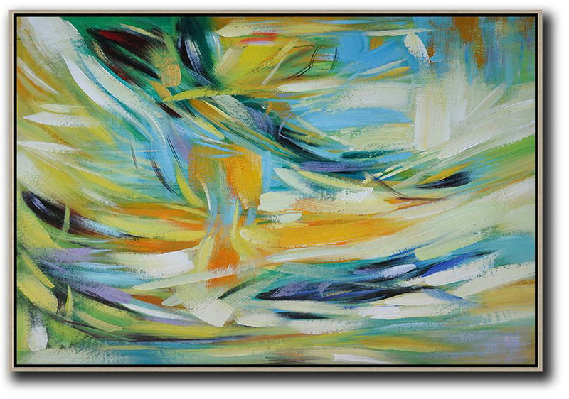 Oversized Horizontal Contemporary Art,Textured Painting Canvas Art,Yellow,Light Blue,Green,White